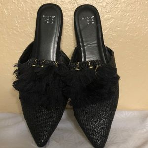 A NEW DAY BLACK TASSLE MULES FEOM TARGET;SIZE 11